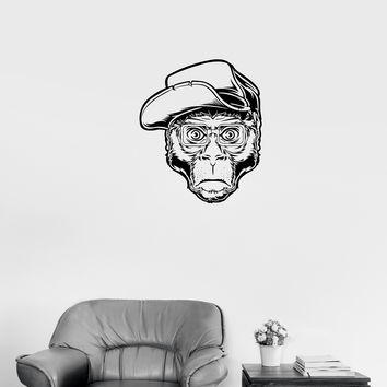 Wall Decal Animal Monkey Gorilla In Glasses Hipster Fashion Vinyl Sticker Unique Gift (ed687)