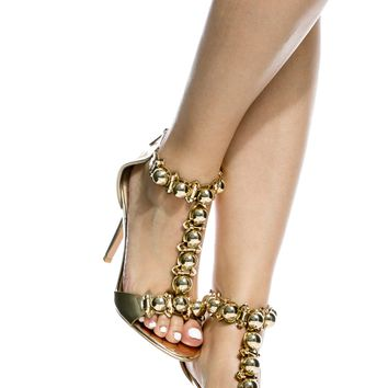 Gold Faux Leather T Strap Single Sole Heels @ Cicihot Heel Shoes online store sales:Stiletto Heel Shoes,High Heel Pumps,Womens High Heel Shoes,Prom Shoes,Summer Shoes,Spring Shoes,Spool Heel,Womens Dress Shoes