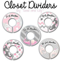 Closet Dividers In the Pink Grey Elephant Kids Bedroom Baby Nursery Art Decor CD0026