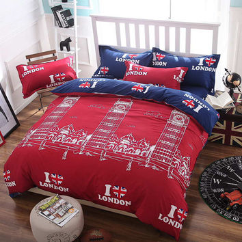 summer style bedding cotton set I love London Duvet Cover set no quilt Comforter cover set quilt cover/ bed sheet/Pillowcase