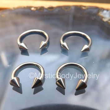 "Septum Nose Ring 16g 5/16"" 8mm Circular Silver Lip Rings Horseshoe Barbell Spikes 3/8"" 10mm Earlobe Piercing Body Jewelry Helix Hoop Pierced"