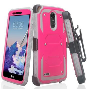 LG Stylo 3 Case, LG Stylo 3 Plus Case, Triple Protection 3-1 w/ Built in Screen Protector Heavy Duty Holster Shell Combo Case for LG Stylo 3 - Hot Pink