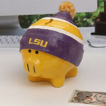 LSU Tigers Piggy Bank - Large With Hat