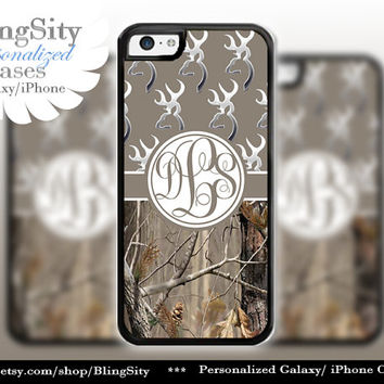 Monogram Iphone 5C case Browning Brown iPhone 5s iPhone 4 case Ipod 4 5 Touch case Real Tree Camo Deer Personalized Country Inspired Girl