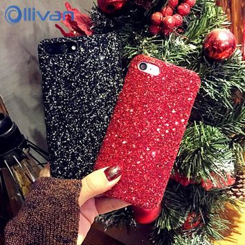 Luxury Bling Glitter Star Case For IPhone 7 Plus 8 6 Plus Case Christmas PC Sequins Diamond capinha Cases For IPhone 6 s Plus 7