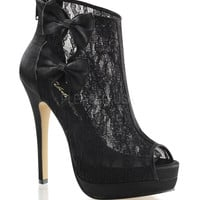 Black Satin Lace Peep Toe Bella Bootie Heels