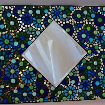 Wall Art Hanging Stained glass mosaic mirror with tiny flowers