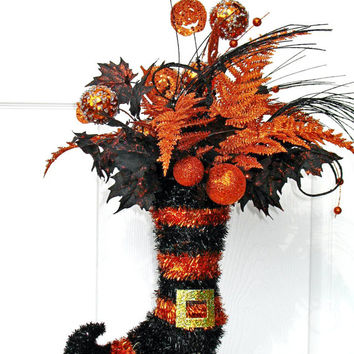 SALE Witch Boot / Witch Centerpiece / Black and Orange / Halloween Decor / Wicked Witch / Halloween Floral Arrangement / Witch Boot