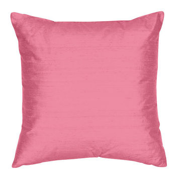 The Silk Group SQ_Shant_Sol_French_Rose_22x22_CO French Rose 22x22-Inch Square Silk Shantung Luxury Decorative Pillow Cover Only