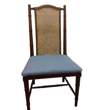 Pre-owned Faux Bamboo and Cane Chair