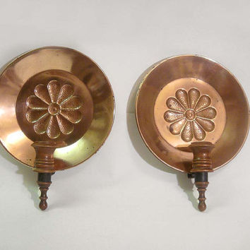 Copper Arts & Craft Candle Holders Sconces Colonial Hammered Wall hanging