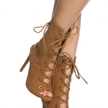 Chestnut Faux Suede Double Lace Up Open Toe Booties @ Cicihot Heel Shoes online store sales:Stiletto Heel Shoes,High Heel Pumps,Womens High Heel Shoes,Prom Shoes,Summer Shoes,Spring Shoes,Spool Heel,Womens Dress Shoes