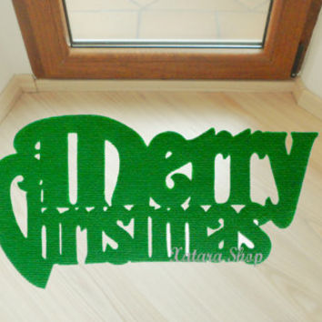Merry Christmas door mat. Holidays decoration. Christmas ornament. Custom doormat.
