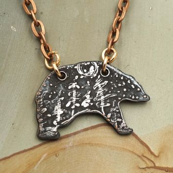 Small Bear Copper Pendant Necklace