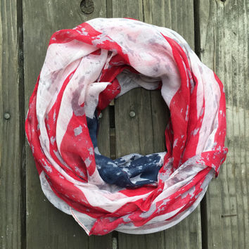 American Flag Scarf, USA Flag Scarf, Partiotic Scarf, Partrio Scarves, Red White and Blue Scarves