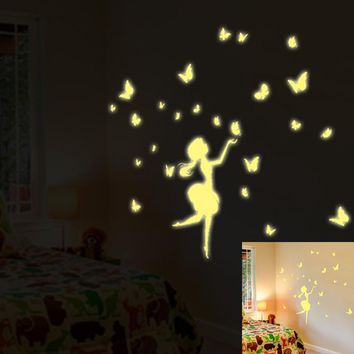 A Set Kids Bedroom Fluorescent Glow In The Dark Stars Wall Stickers