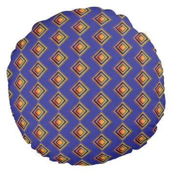 Geometric Blue Pattern and Golden Round Pillow