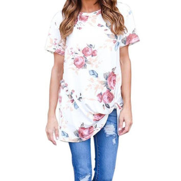 Camiseta Mujer T-Shirt Women   Women O-Neck Short Sleeve Flowers Printed Casual Tops Lady T Shirt poleras mujer #425 BL
