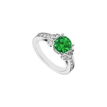 14K White Gold Created Emerald and  Cubic Zirconia Engagement Ring 4.00 CT TGW