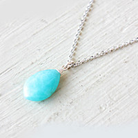 Turquoise Amazonite Pendant Necklace Sterling Silver Turquoise Aqua Blue Natural Amazonite Pendant Gemstone