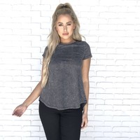 Charcoal Grey Acid Wash Jersey Top