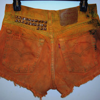 Vintage Dyed and Studded Denim Shorts by BohoJane on Etsy