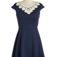 Short Length Cap Sleeves A-line Akin to Audrey Dress in Navy