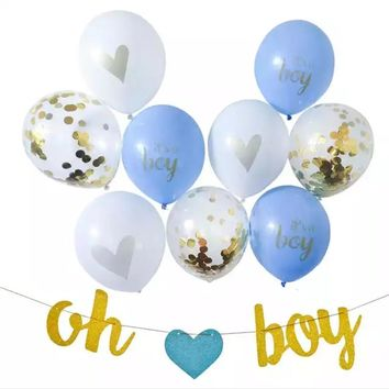 BOY'S BABY SHOWER Party Decoration Set-Boy Baby Shower Decoration, Boy Baby Shower Banner, Blue Baby Shower Balloons, Oh Boy Banner