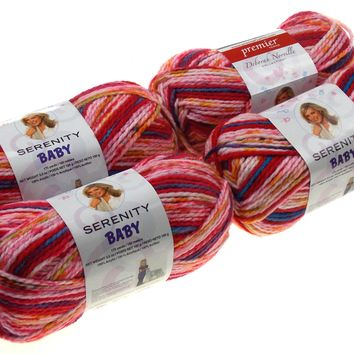 Premier Yarns Deborah Norville Serenity Baby Picnic Color Lot of 4 Skeins Balls