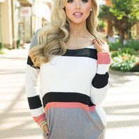 Dancing With Strangers Striped Tunic Rose
