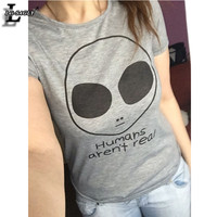 New Design The Big Alien Printed Gray T shirts Summer Style Harajuku Punk O-Neck Casual Fashion Kawaii T-shirt Women Tops F1137