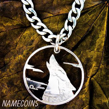 Howling Wolf Necklace with clouds, Hand cut quarter by Namecoins