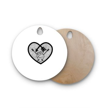 "BarmalisiRTB ""Heart Arrow"" Black White Round Wooden Cutting Board"