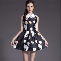 Black Swan Print Sleeveless Collared Pleated Dress