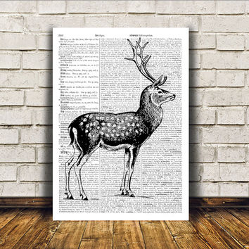 Stag poster Wall decor Deer art Dictionary print RTA291