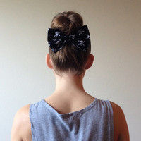 Halloween Skull and Crossbones Hair Bow