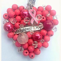 Breast Cancer Awareness Necklace // Pink Ribbon Woven Long Necklace