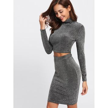 Mock Neck Top And Skirt