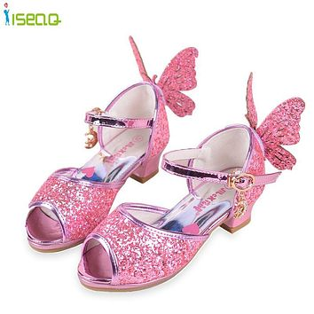 toddler elsa Girls sandals high heels shoes children fashion party andwedding summer shoes chaussure enfants fille sandalias