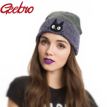 Geebro Studio Ghibli Kiki's Delivery Service JIJI Watchman Beanie Winter Warm Ski Cap Lovely Knitted Hat Bonnet for Women JS218