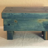 "Wooden, Rustic Step Stool. ""Worn Navy"""