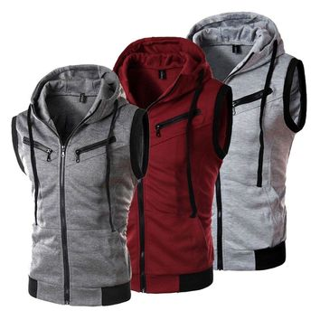 Men Hoodies Sleeveless Zipper Jacket Vest Waistcoat Hooded Coat Sport Sweatshirt