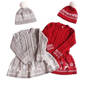 winter baby girls sweater red embroidery Deer kids sweater knitting hat kids dresses for girl clothes princess santa christmas