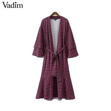 Women retro V neck plaid wrap dress bow tie sashes flare sleeve vintage ladies casual mid calf dresses