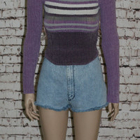 40%off 90s Chenille Sweater Lavender Purple Cropped Soft Fuzzy Pastel Goth Grunge Hipster Cyber Club Kid Festival Crop Top Turtle Neck Kawai
