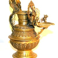 Agan Traders Handcrafted Brass Sukunda Oil Lamp ~ Made in Nepal