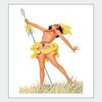 Spear Vintage Pin Up Girl Poster Print