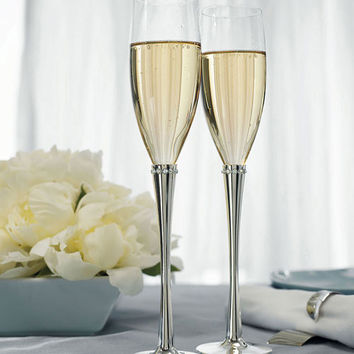 Crystal Ring Wedding Champagne Flutes
