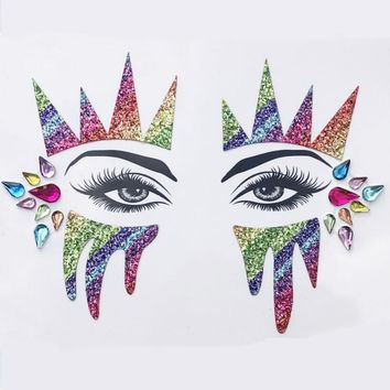 Tattoo Face Jewels Women Sexy Crystal Eyes Gems Sticker Music Day Party Makeup Body Art Flash Glitter Sticker 4 pieces/lot