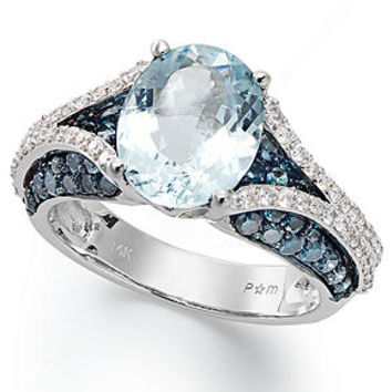 14k White Gold Ring, Aquamarine (2-5/8 ct. t.w.) and Blue and White Diamond (1-1/10 ct. t.w.) Oval Ring - Rings - Jewelry & Watches - Macy's